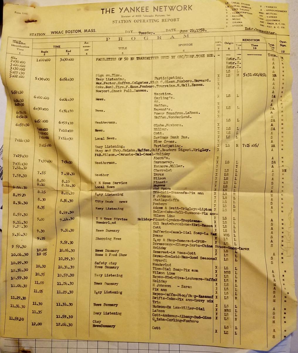 Yankee Network June 24-1958 Program Log